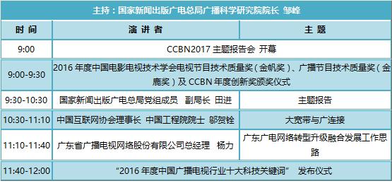 吐血整理,CCBN2017 11大论坛议程 码了备用-高清范资讯